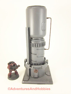 Tall vertical processing tower for 25-28mm scale wargames - front view.