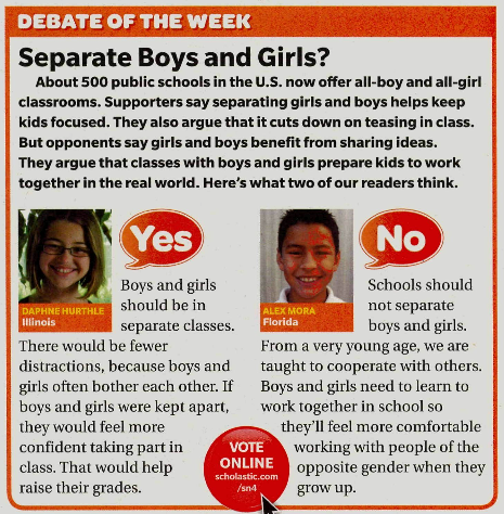 should boys and girls be separated in school essay There are more single-sex schools for girls than for boys in each of the  a single -sex or coeducational learning setting should not be the only.