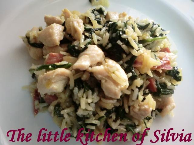Salteado de pollo con espinacas y arroz recetas de cocina - Arroz salteado con pollo ...