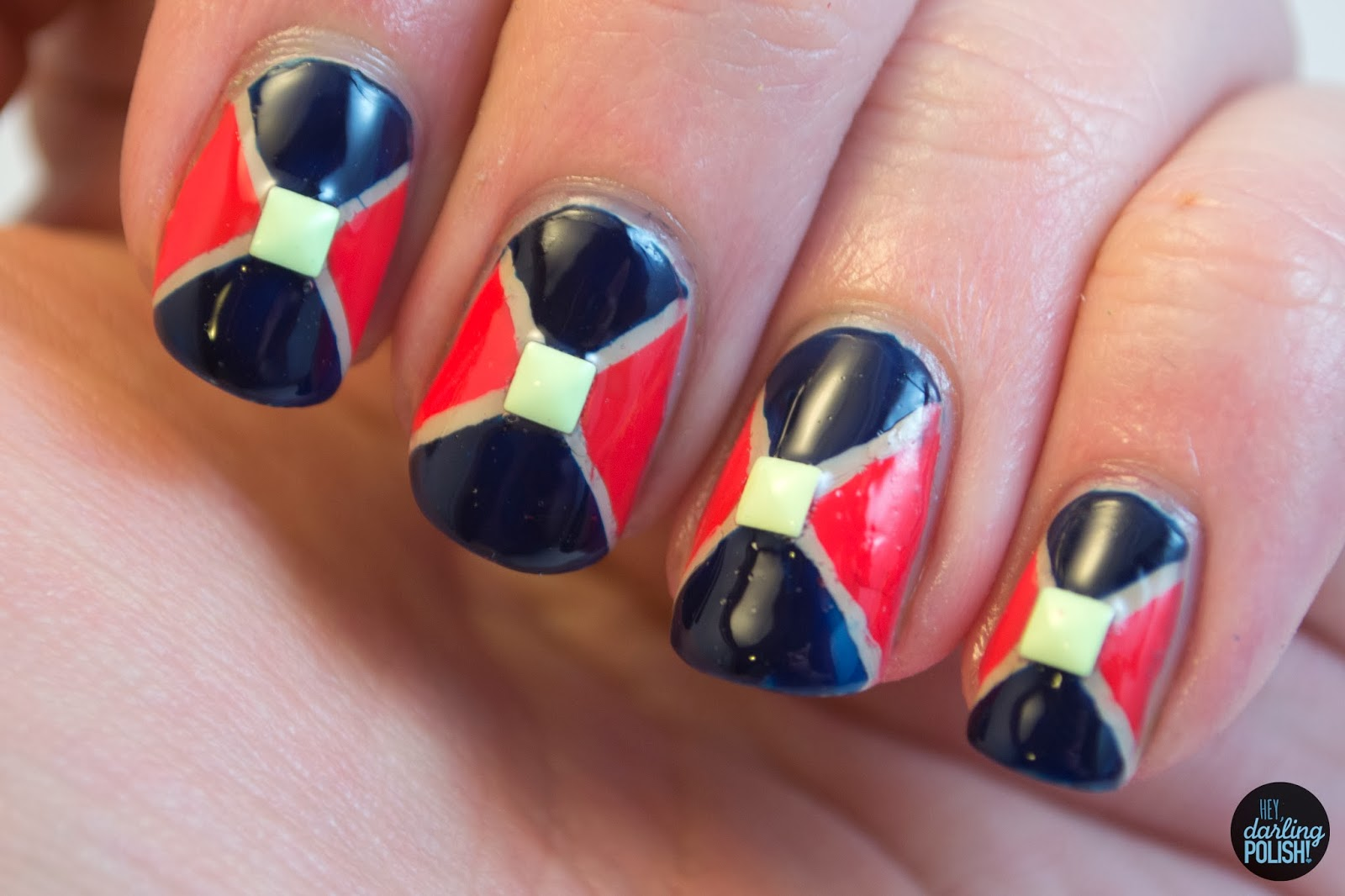 nails, nail polish, nail art, geometric, triangles, studs, hey darling polish, theme buffet,
