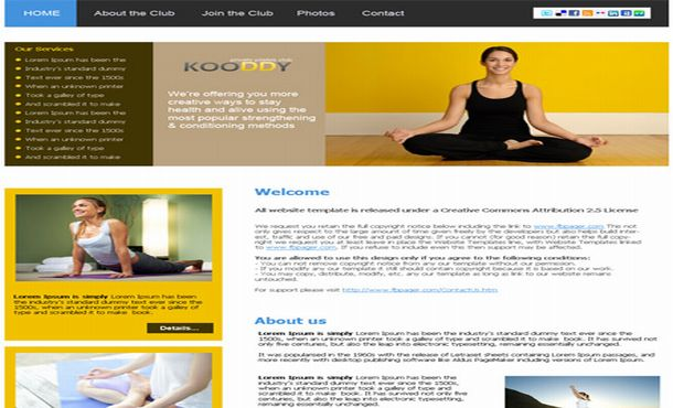 Yoga Fitness Brown Yellow CSS Web Template
