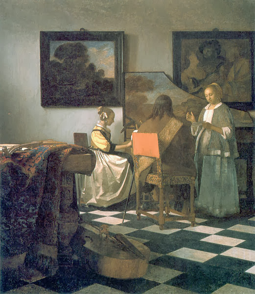 "Picture of the painting ""The Concert"" by Johannes Vermeer in 1664, stolen from Isabella Stewart Gardner Museum, Boston"