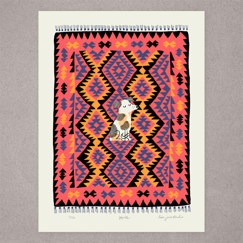 Four-colour screen-printed illustration of dog on patterened kilim rug