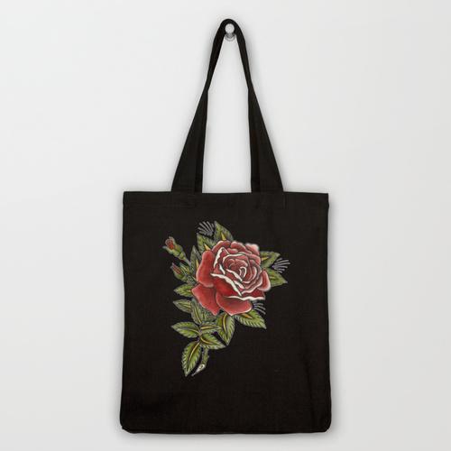 sebastian orth - tattoo style rose tote bag