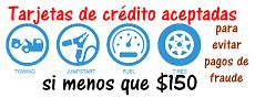 Tarjetas de crédito aceptadas si debajo $150