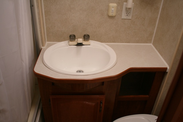 amazing new rv trailer camper popup right corner bathroom bath sink vanity top