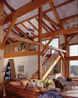cathedral ceiling timber frame great room