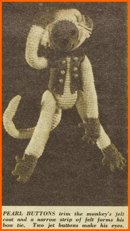 vintage 1960s crochet monkey and free pattern