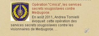 "Opération ""Crnica"", les services secrets yougoslaves contre Medjugorje."