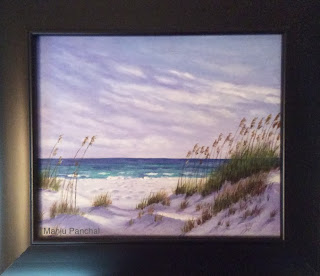 acrylic painting of a seashore by manju Panchal