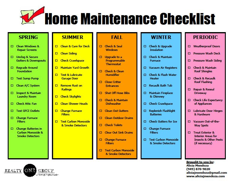 Zuri she wrote home maintenance stuff for Homeowner s checklist for building a house