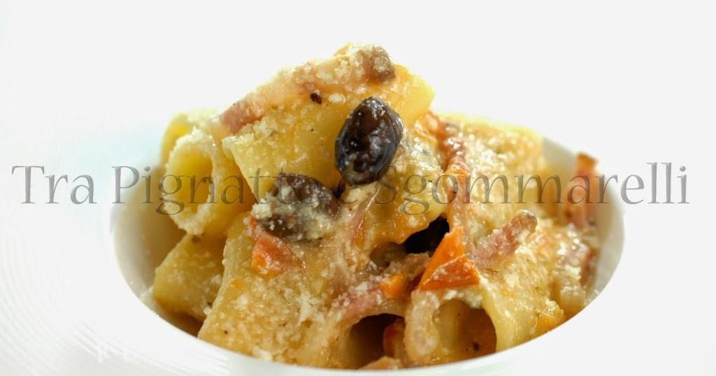 Le mie ricette - Rigatoni con ricotta, pomodori Marinda, guanciale, olive taggiasche e parmigiano