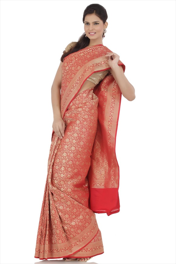 Tomato Red Satin Banarasi Saree