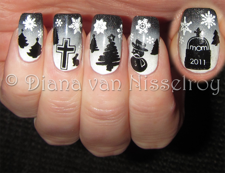 D I A N A My Sad Gray Mommy Memorial Christmas Nails