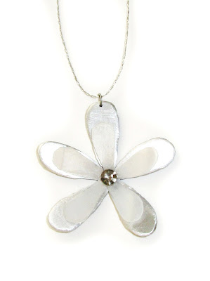 flower, layered, pendant, necklace, stone, silver
