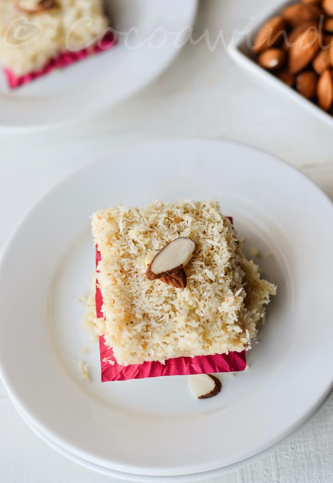 Urmi's Microwave Coconut Barfi
