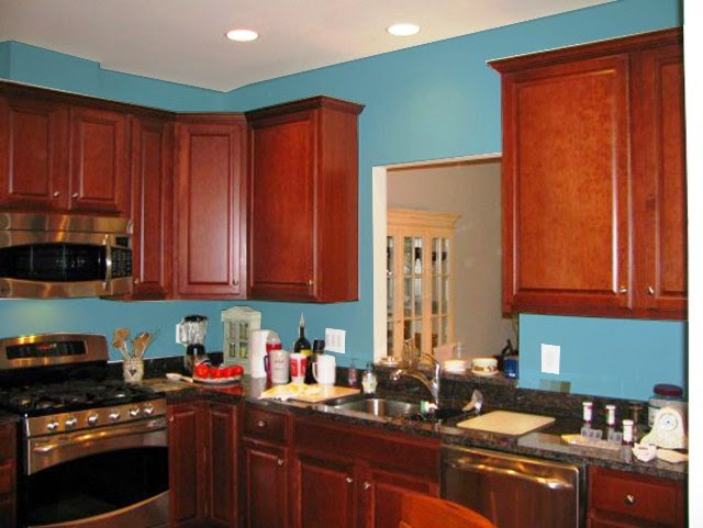 best wall paint color for cherry cabinets