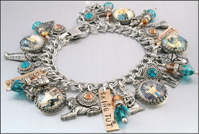 Egyptian Jewelry, king tut charm bracelet, cleopatra jewelry, egyptian bracelet, egypt charms