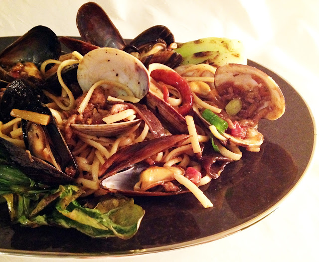 ... Mussels with Spicy Pork Pasta, Wood Ear Mushrooms, and Baby Bok Choy