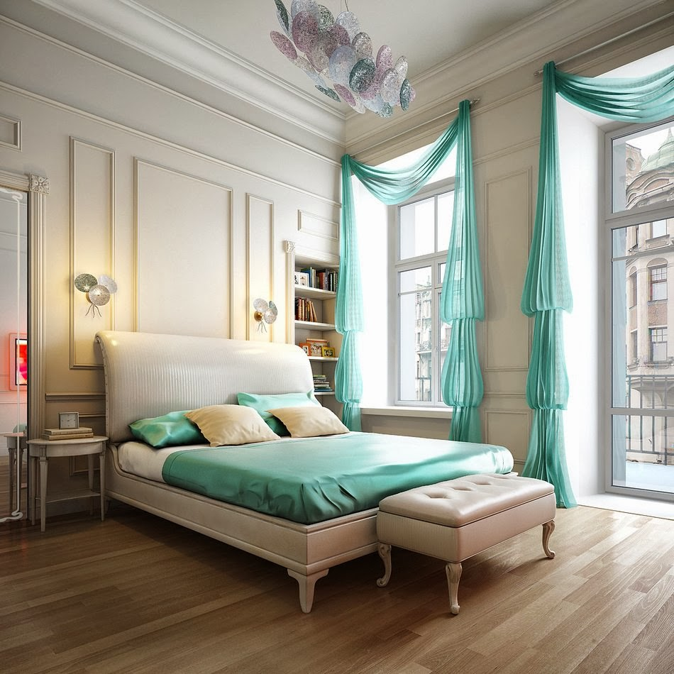 Turquoise bedroom design ideas 9 designs for Bed decoration ideas