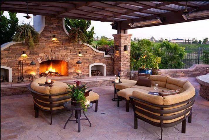 Decoracion con chimeneas para el exterior   casas ideas