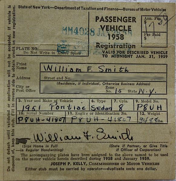 Vintage Vehicle Registration 42