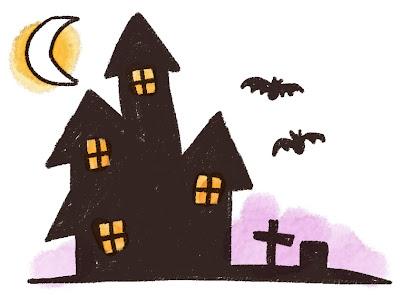ハロウィンのお化け屋敷のイラスト