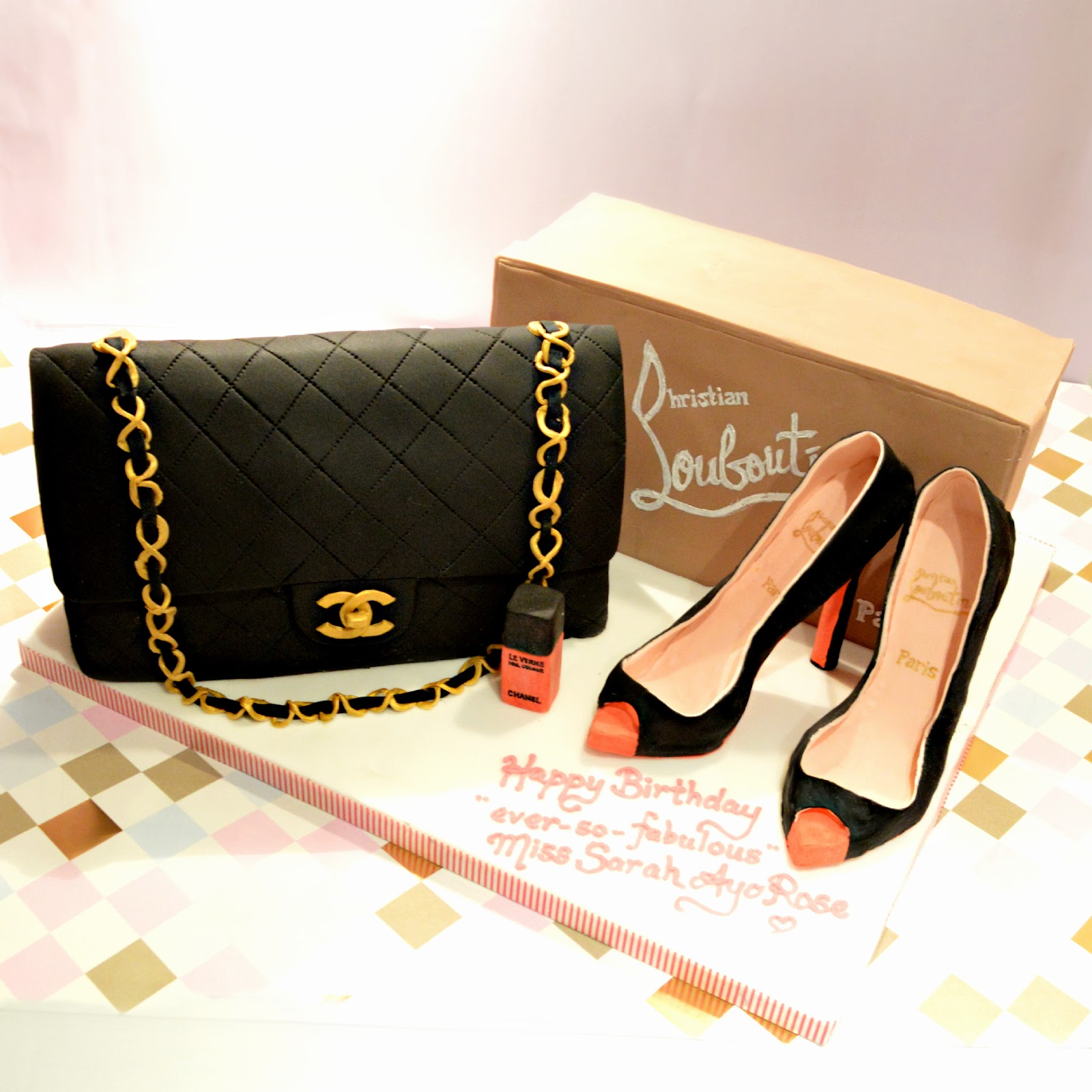 Cherie Kelly's Chanel Handbag and Louboutin High Heels Shoe Cake