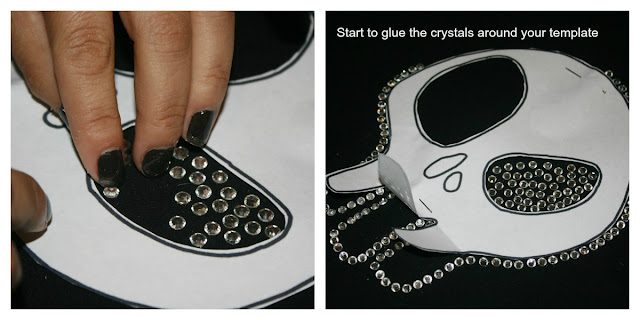 DIY Skull T-Shirt, applying the crystazzi crystals