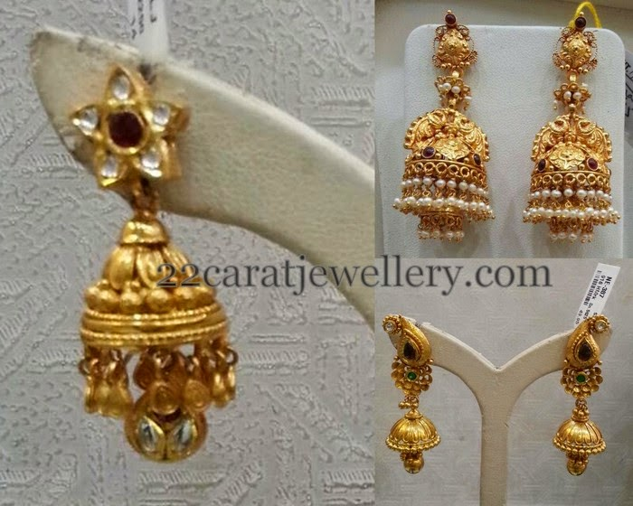 Antique Gold Colorful Jhumkas