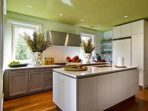 En esta foto de cocina moderna vemos como el pistacho en paredesy