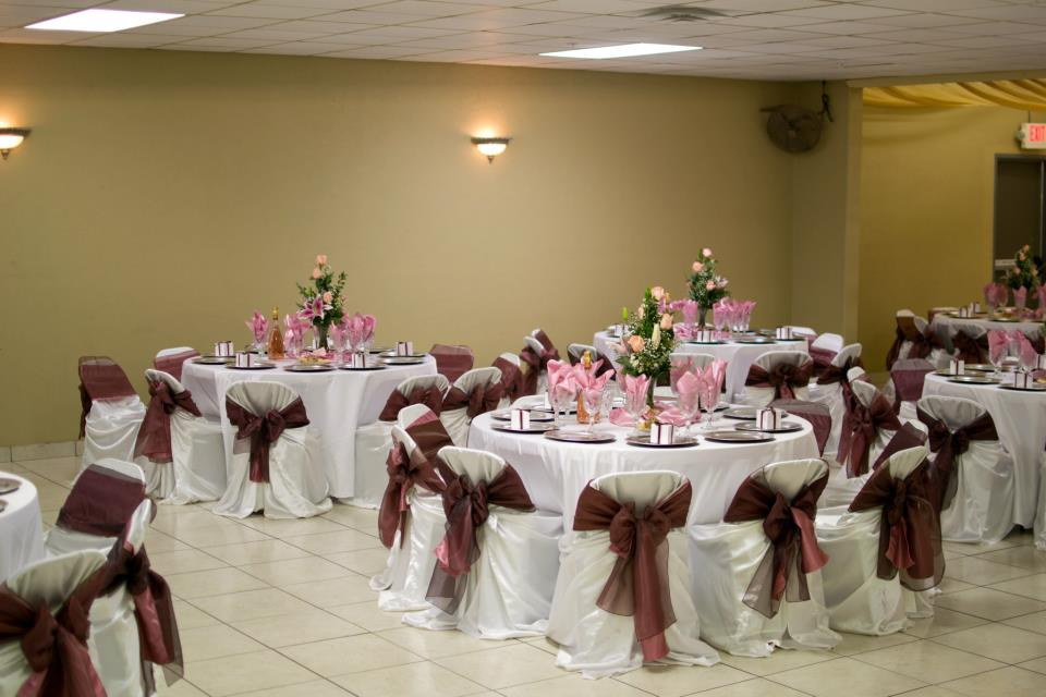 Rincon Real Hall Decorations Pink Brown And White Wedding