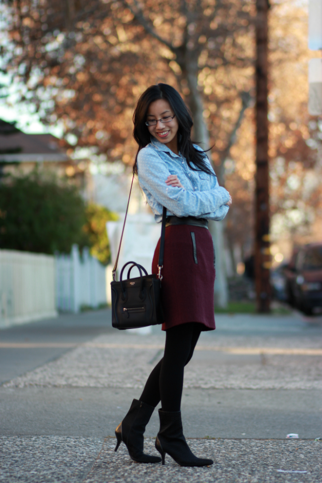 winter outfit chambray idea