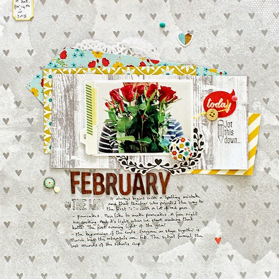 monthly scrapbook page: February