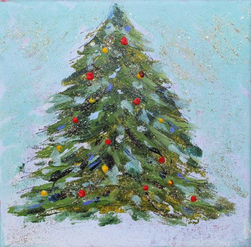 Quot o christmas tree acrylic painting