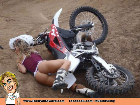 Sexy chick Crashed motorcycle