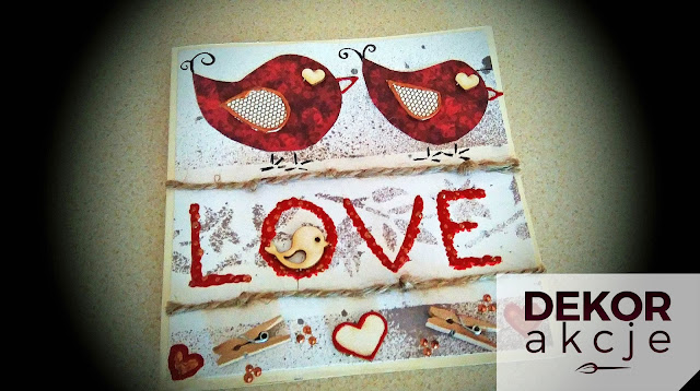 kartka LOVE ptaki