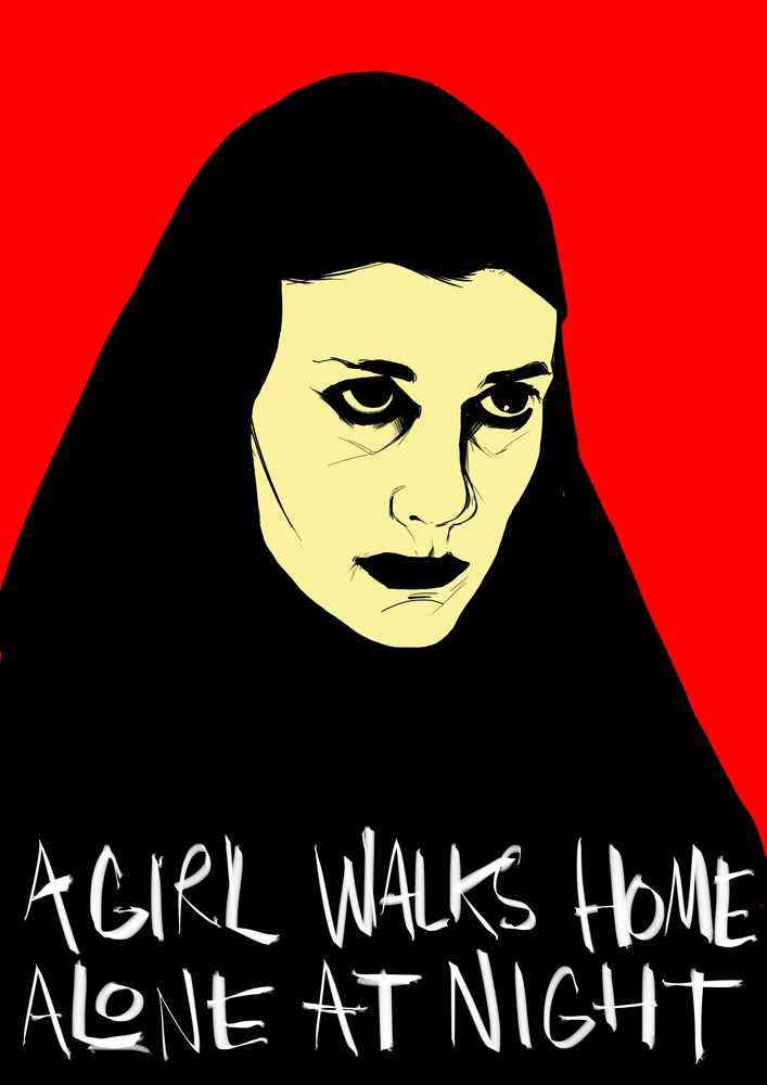 Illustration A Girl Walks Home Alone at Night poster