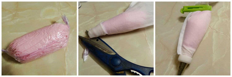 Rellenando la manga pastelera con la glasa del delineado metida en papel film