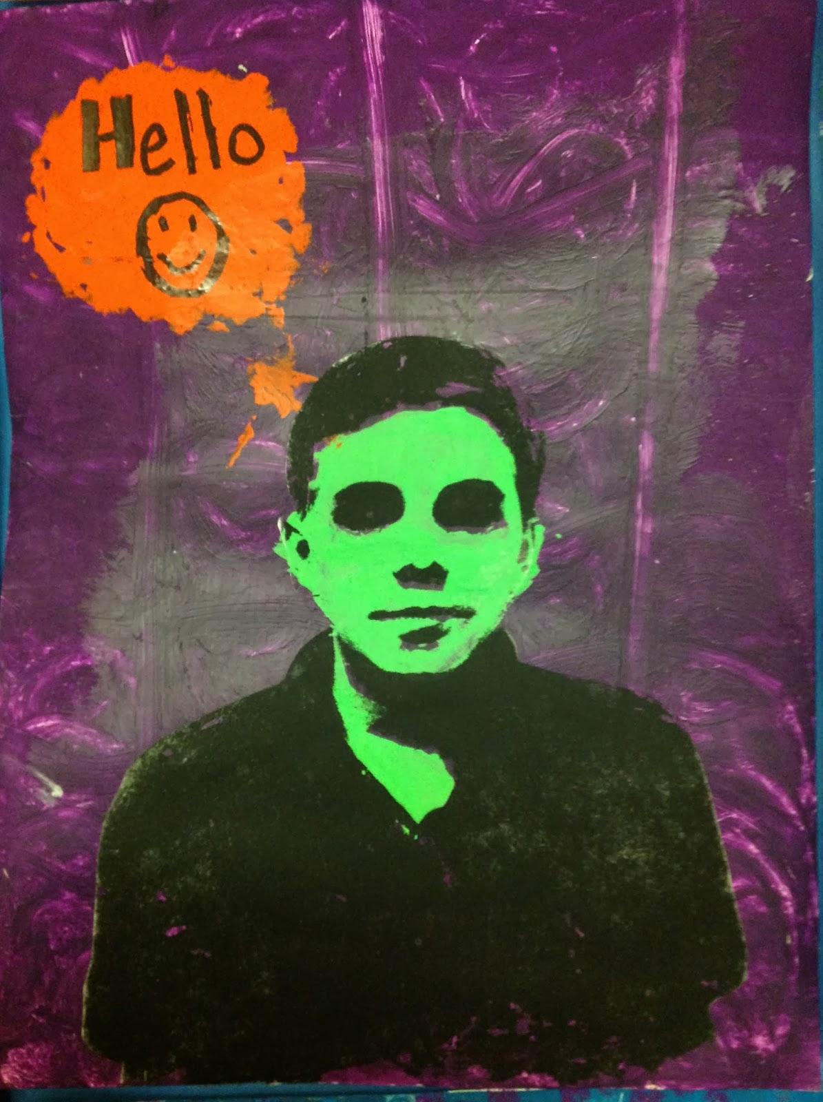 6th Grade Pop Art Portrait Inspired by Warhol and Lichtenstein