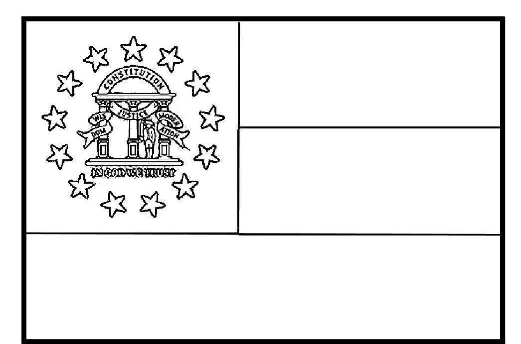 Georgia State Flag Coloring Page Georgia State Flag Coloring