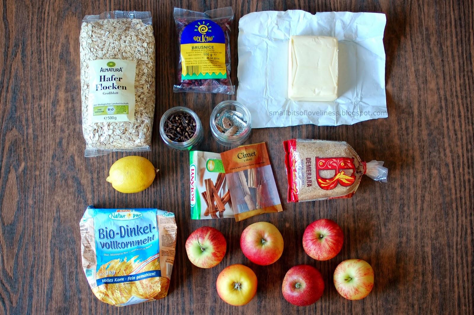 Sestavine za jabolčni drobljenec z brusnicami