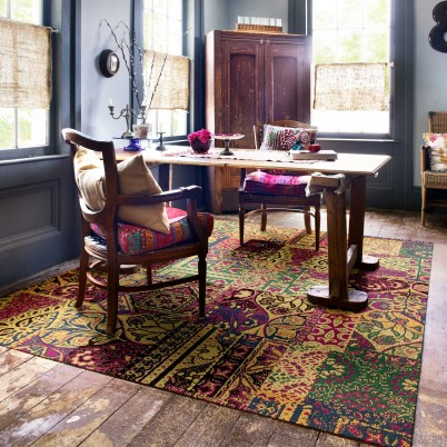 rustic space with FLOR rug tiles