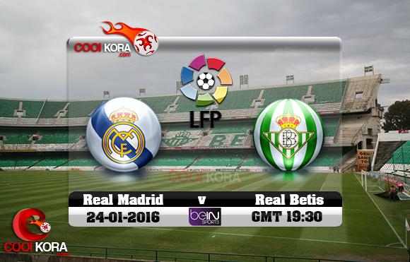 مشاهدة مباراة ريال بيتيس وريال مدريد اليوم 24-1-2016 في الدوري الأسباني