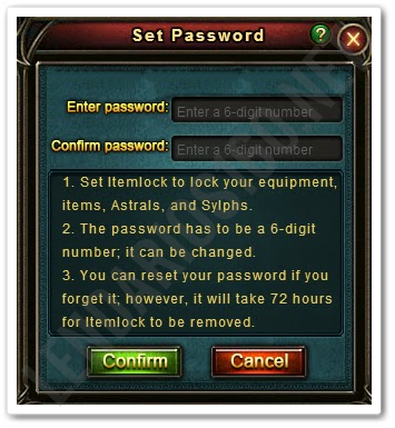 Sistema de Bloqueio de Item   Legend Online