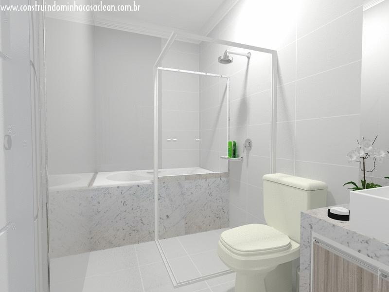 Construindo Minha Casa Clean Banheiros e Lavabos! Maravilhosos!!! -> Banheiro Com Banheira Planta