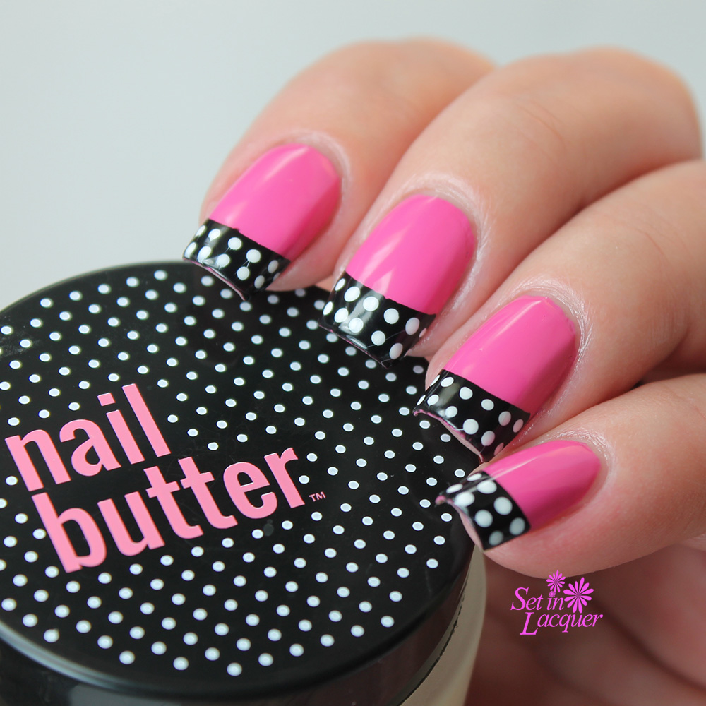 Nail Butter - Pink and black retro polka dot nail art