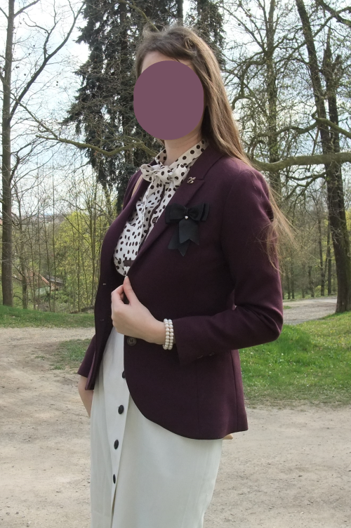 pussy bow blouse, polka dot, 1940s, elegant