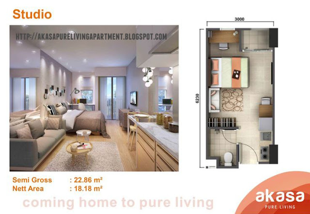 Tipe Studio Akasa Pure Living Tower Kalyana