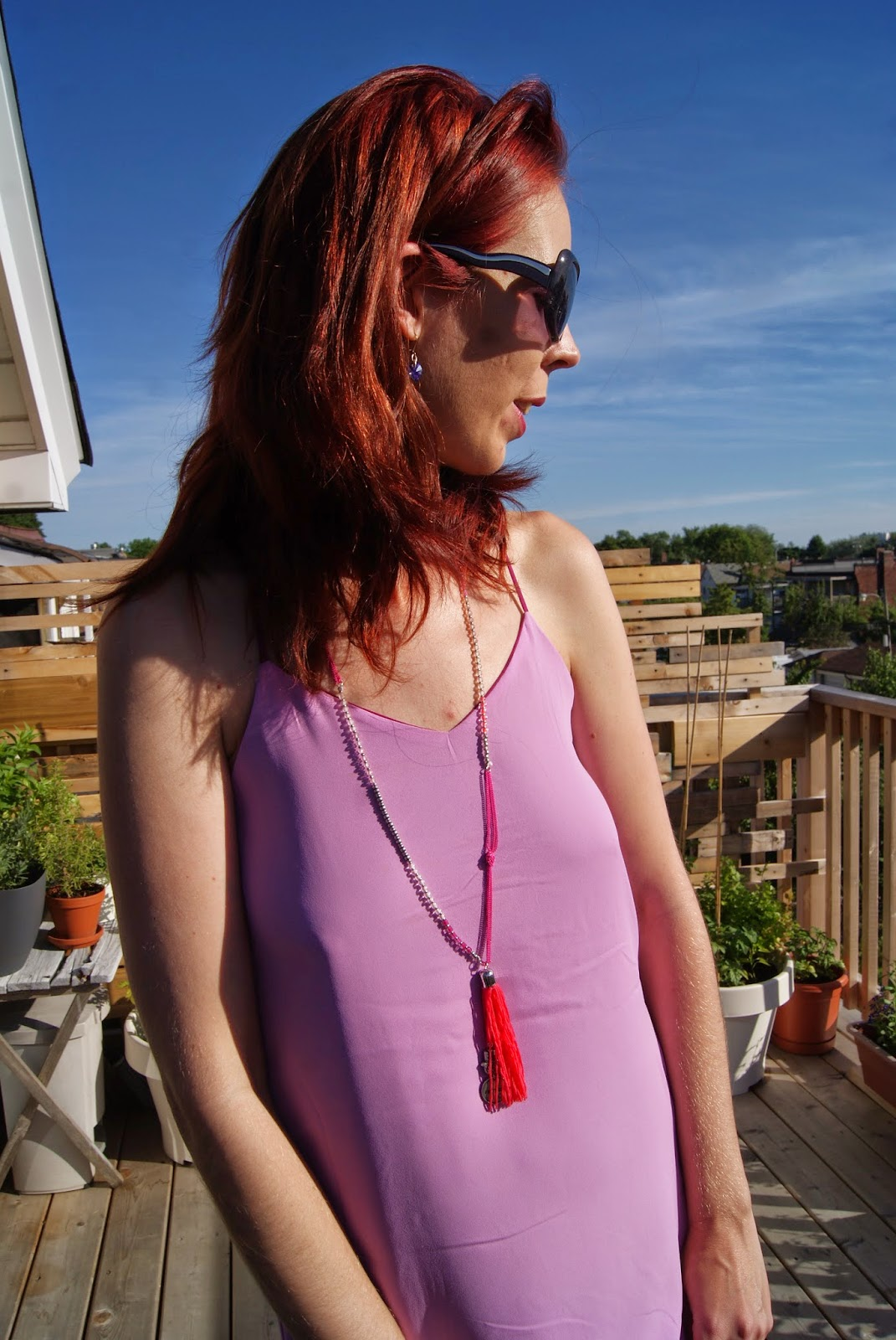 Reversible Cami Dress and necklace from Express, Walmart Shoes, Urban Outfitters Clutch,Fashion, Style, Orchid, Melanie_Ps, The Purple Scarf, Toronto, Outfit, Travel, Cami, accessories, Heels